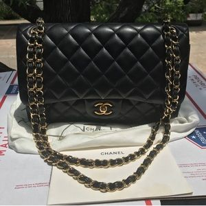 CC Jumbo Lambskin Double Flap Quilted Black Bag